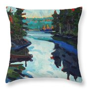 Charlton Lake Camp Sunrise Throw Pillow
