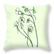 Charming Cotton Bolls Throw Pillow