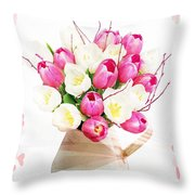 Charming Heart Tulips Throw Pillow by Debra  Miller