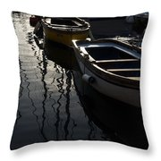 Charming Old Wooden Boats In The Harbor Throw Pillow