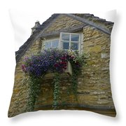 Charming Window And Flowers Throw Pillow