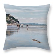 Charmouth Beach 2 Throw Pillow