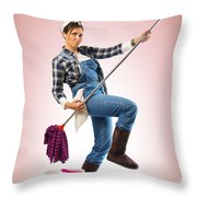 Charwoman On Pink Throw Pillow