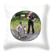 Chasing Bubbles Throw Pillow