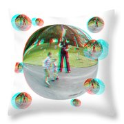 Chasing Bubbles - Red/cyan Filtered 3d Glasses Required Throw Pillow