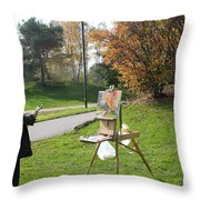 Chasing The Autumn Colors Throw Pillow