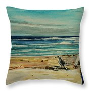 Chasing The Seagull Throw Pillow