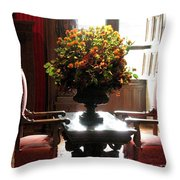 Chateau De Chenonceau Flowers And Chairs Throw Pillow