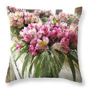 Chateau De Chenonceau Flowers On Mantle Throw Pillow