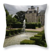 Chateau De Cheverny With Garden Fountain Throw Pillow