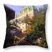Chateau Frontenac In Quebec Throw Pillow