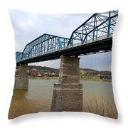 Chattanooga Longest Walking Bridge Throw Pillow by Kathy  White