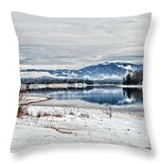 Chatuge Dam Winter Vista Throw Pillow