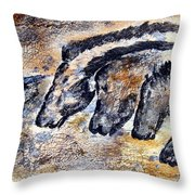 Chauvet Cave Auroch And Horses Throw Pillow