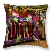 Cheakamus River Train Wreck Throw Pillow