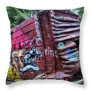Cheakamus Box Car Graffiti Throw Pillow