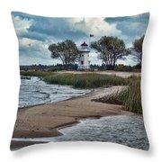 Cheboygan Crib Lighthouse #18 Throw Pillow