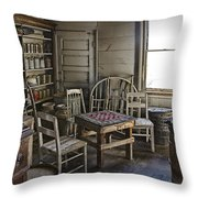 Checker Game Setting In A Back Room No. 3105 Throw Pillow