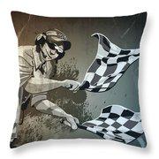 Checkered Flag Grunge Monochrome Throw Pillow