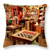 Checkers At Jefferson General Store Throw Pillow