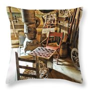 Checkers At The General Store Throw Pillow