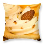 Cheddar Cheese On Crackers With Almonds Throw Pillow