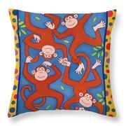 Cheeky Monkeys Wc Throw Pillow