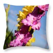 Cheerful Gladiolus Throw Pillow