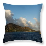 Cheerful Orange Catamaran And Diamond Head - Waikiki - Hawaii Throw Pillow