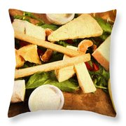 Cheese And Fruit Throw Pillow