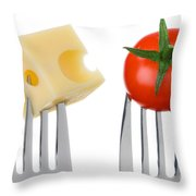 Cheese And Tomato On Forks Against White Throw Pillow