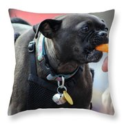 Cheese Puffs Pup Throw Pillow