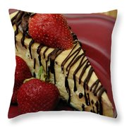 Cheesecake With Strawberries Throw Pillow