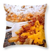 Cheesy Bacon Fries And Funnel Cake Throw Pillow