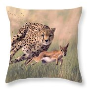 Cheetah And Gazelle Painting Throw Pillow