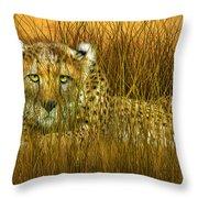 Cheetah - In The Wild Grass Throw Pillow