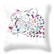 Cheetah Watercolor - White Throw Pillow