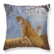 Cheetah With Cub Throw Pillow