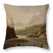 Cheevers Mill On The St. Croix River Throw Pillow