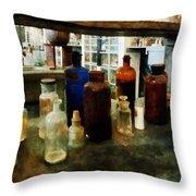 Chemistry - Assorted Chemicals In Bottles Throw Pillow