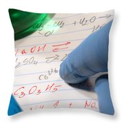 Chemistry Formulas In Science Research Lab Throw Pillow
