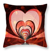 Cherries And Hearts Throw Pillow