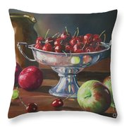Cherries In Silver Bowl Throw Pillow
