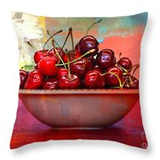 Cherries On The Table With Textures Throw Pillow