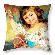 Cherry Basket Girl Throw Pillow