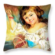 Cherry Basket Girl Throw Pillow