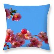 Cherry Blossom Against Blue Sky Throw Pillow