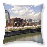 Cherry Blossom Along Portland Oregon Waterfront Panorama Throw Pillow