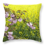 Cherry Blossom And Rapeseed Throw Pillow