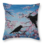 Cherry Blossom Birds Throw Pillow